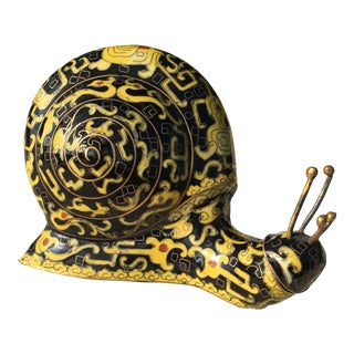 Antique Yellow & Black Cloisonné Snail