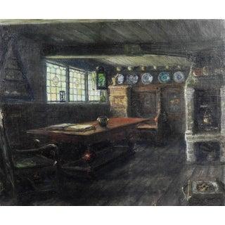 19th Century Dutch Interior Delft Oil Painting