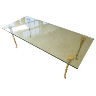 Twisted Brass Legs Glass Top Coffee Table
