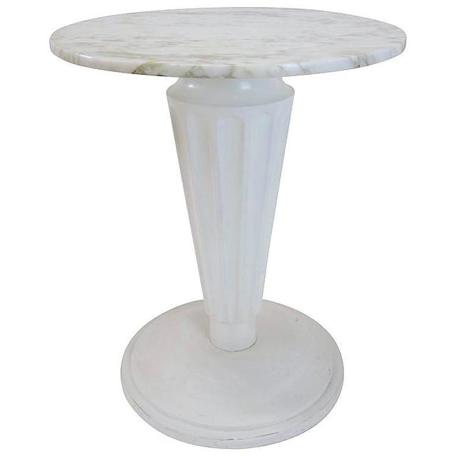 Marble top fluted pedestal side table chairish for Fluted pedestal base
