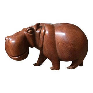 Solid Teak Hand Carved Hippopotamus Sculpture