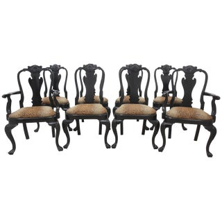 Queen Anne Dining Chairs, S/8