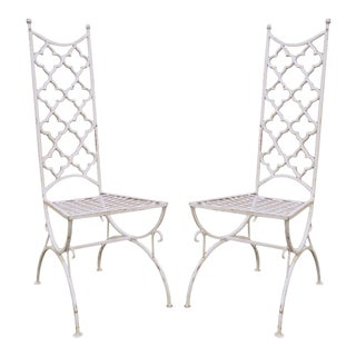 Hollywood Regency Wrought Iron Clover Fretwork Curule Side Chairs - A Pair