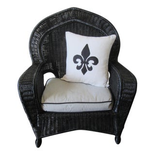 Vintage Black Wicker Arm Lounge Chair