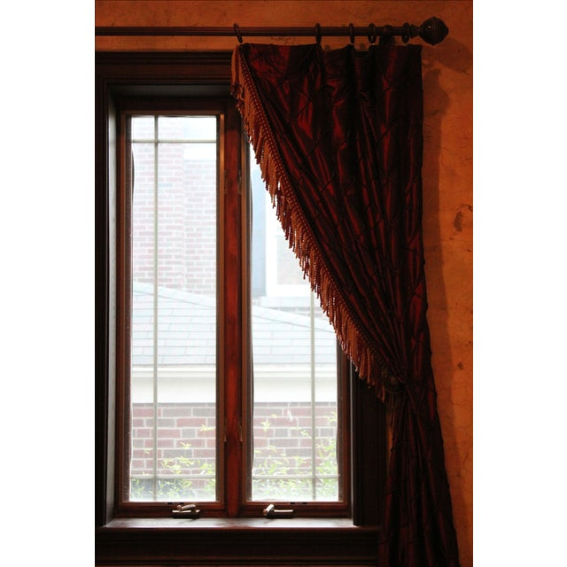 Victorian Style Drapes in Burgundy - A Pair - Image 6 of 10