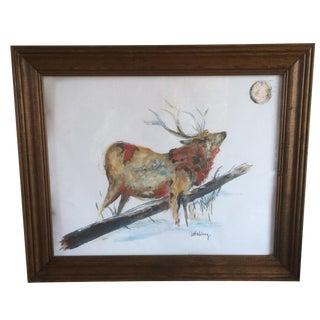 Lone Elk & Full Moon Painting