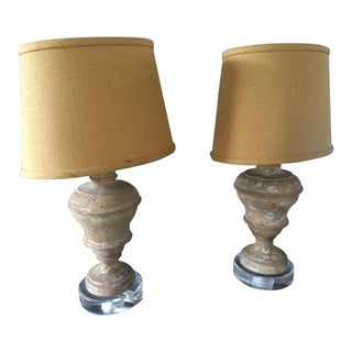 Small Baluster Form Carved Wood Table Lamps - A Pair