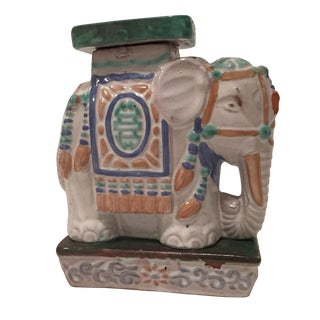 Vintage Painted Terra Cotta Elephant