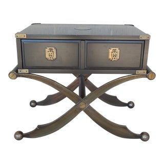 Henredon Campaign Asian Style Arabian X Base Accent Table
