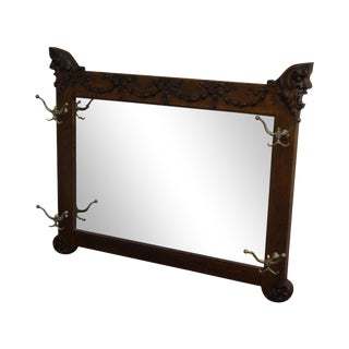 Antique Victorian Oak Carved Hall Mirror
