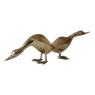 Vintage Mid-Century Brass Duck Figurine - A Pair