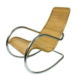 Wicker & Chrome Mid-Century Rocking Chair