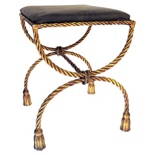 Shapely Italian 1960's Gilt Iron Rope-Twist Curule-Form Bench