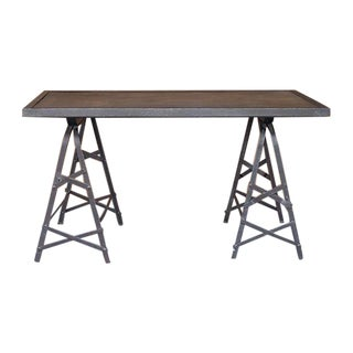 Industrial Riveted Steel Table with Trestle Legs