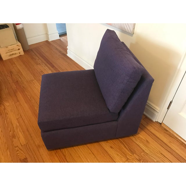 ABC Home Cobble Hill Purple Slipper Chairs- A Pair - Image 4 of 5