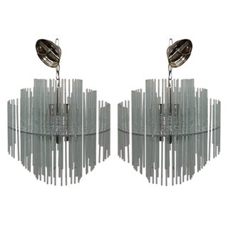 Gaetano Sciolari Glass Tier Chandeliers - Pair