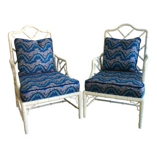 Vintage White Faux Bamboo Club Chairs - A Pair