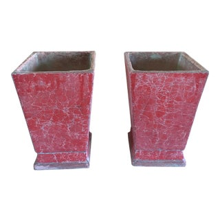 Chinese Coral Pink Glazed Cachepots - A Pair