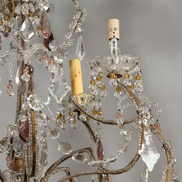 Antique French 4-Light Crystal Beaded Chandelier - Image 3 of 6
