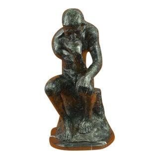 Thinker Man Bronze Sculpture on Marble Base Statue
