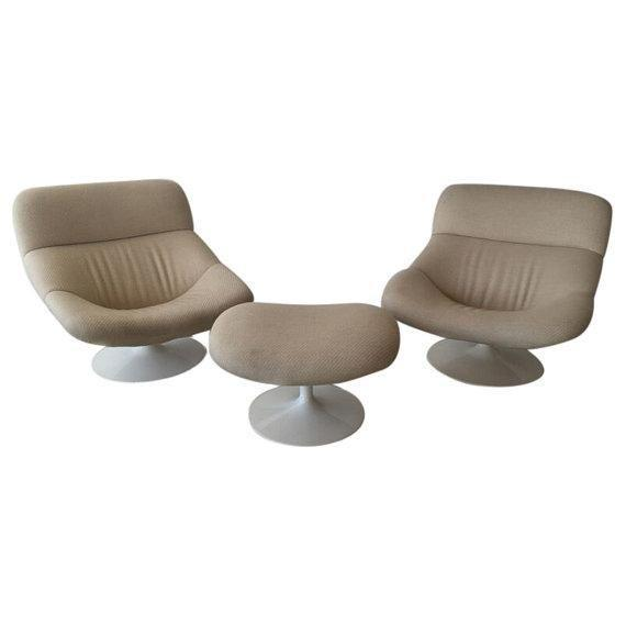 Image of Geoffrey Harcourt F519 Chairs & Ottoman - Set of 3