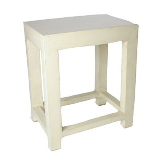 Lacquered Elmwood Ivory Side Stool Table