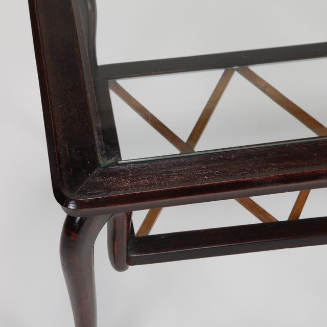 Antique Art Deco Tiered Walnut Glass Side Table - Image 8 of 11