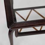 Image of Antique Art Deco Tiered Walnut Glass Side Table