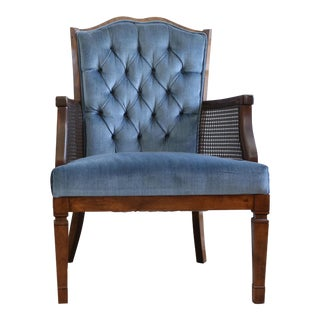 Vintage Hollywood Regency Blue Velvet Tufted Chair