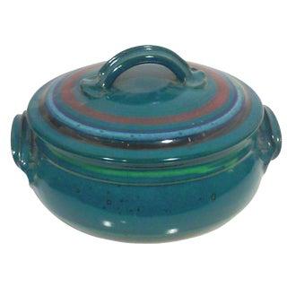 Turquoise Studio Pottery Covered Baking Dish