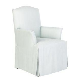 Pale Blue Skirted Armchair