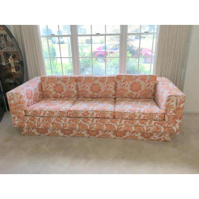 Mid Century Modern Milo Baughman Style Orange Indian Print Upholstery Plinth Base Sofa - Image 9 of 9