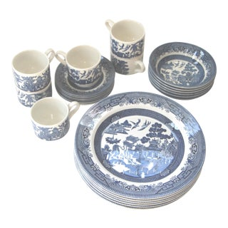 Churchill England Blue Willow China - 24 Pieces