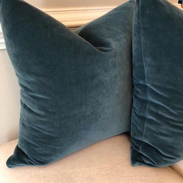Teal Velvet Pillows - A Pair - Image 3 of 4