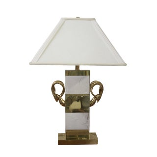 Vintage Hollis Style Lucite and Brass Ibex Lamp