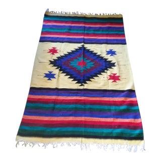 Vintage Oaxaca Indian Wool Rug / Blanket - 4′ × 6′4″