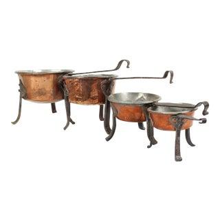 Antique Swedish Copper Cooking Pots - Set of 4