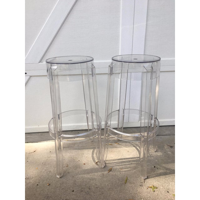 Kartell Charles Ghost Transparent Crystal Bar Stool - A Pair - Image 2 of 4