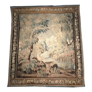 18th Century French Aubusson Verdure Tapestry with Landscape Scenery and Birds