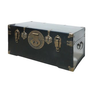 Camphor Wood Black Lacquer Trunk W/Bronze Hardware