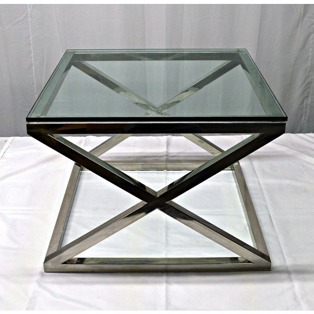 Image of Stainless Steel & Glass Top Square Crossing Table