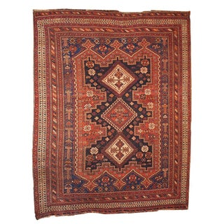 1880s Hand Made Antique Persian Afshar Rug - 5' X 6.4'