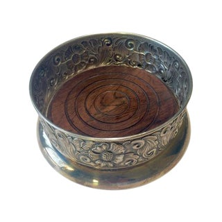Vintage Danish Silver-Plate & Wood Wine Coaster
