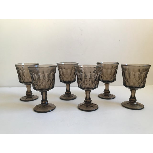 Vintage Thumbprint Smoked Pressed Glass Goblets - Set of 6 - Image 6 of 7