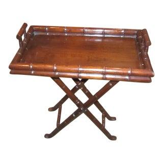 Folding Bamboo Framed Wood Tray Table