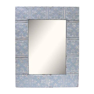 Baby Blue Fleur De Lis Tin Panel Mirror