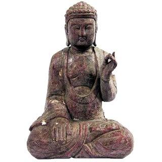 Vintage Carved Wood Sitting Buddha