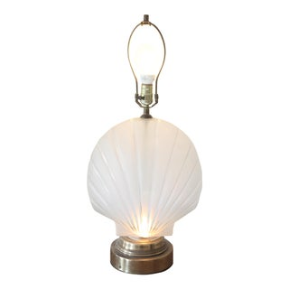 Frosted Glass Clam Shell Lamp With Brass Base