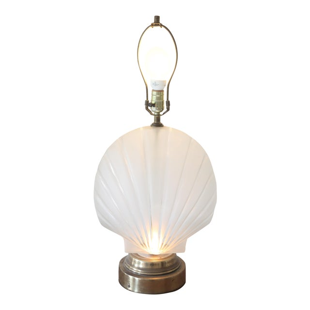 Image of Frosted Glass Clam Shell Lamp With Brass Base