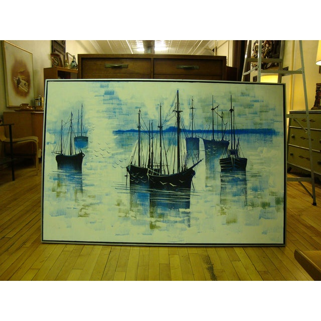 1970s Large Seascape Ships Oil on Canvas Painting - Image 2 of 8